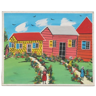 Naive Style Folk Art Gouache Painting of Houses and Figures