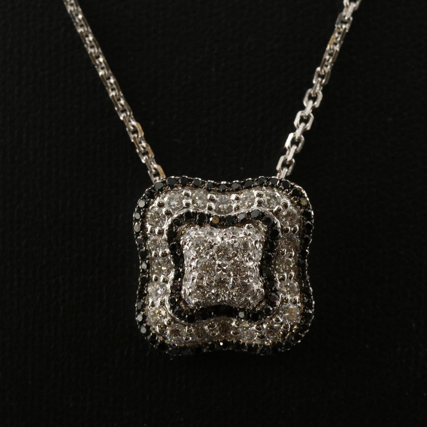 14K 1.26 CTW Diamond Pendant Necklace with Black Diamonds