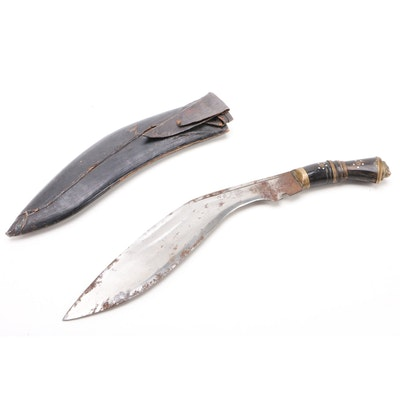 Nepalese Ghurka Kukri Knife with Leather Sheath