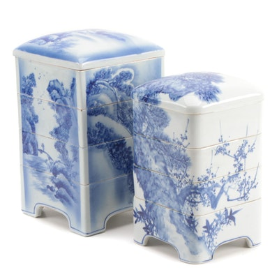 Japanese Blue and White Porcelain Jūbako Stacking Boxes