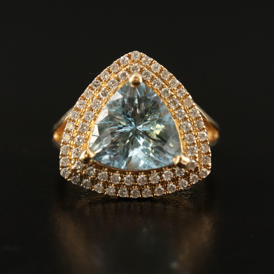14K Aquamarine Triangular Ring with Diamond Halo