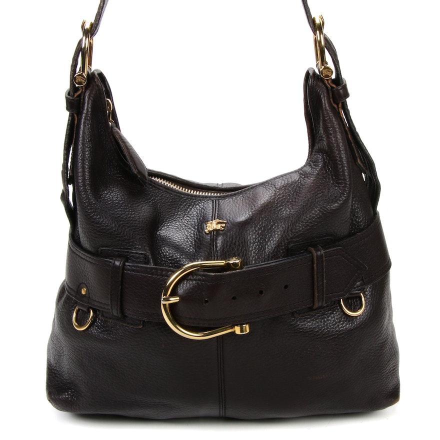 Burberry Shoulder Bag in Dark Brown Grained Leather