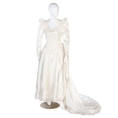 Santa Monica Wedding Dress with Sequin Embellished Lace in Ivory, Vintage