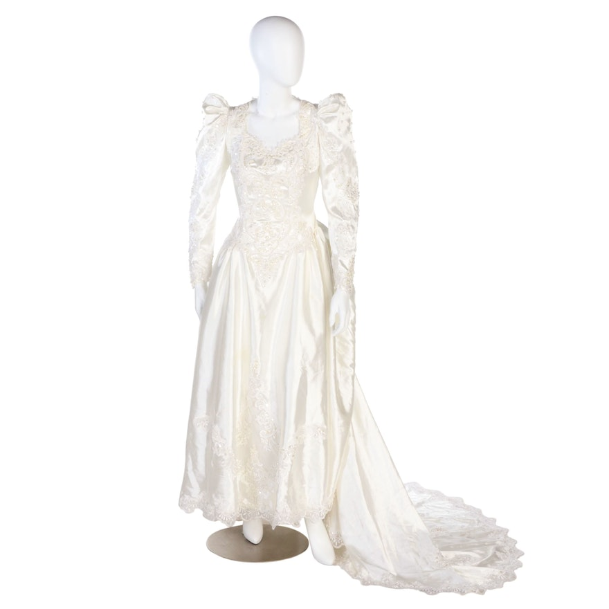 Santa Monica Wedding Dress with Sequin Embellished Lace in Ivory, Vintage