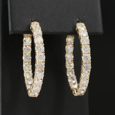 14K 5.52 CTW Diamond Oval Inside Out Hoop Earrings
