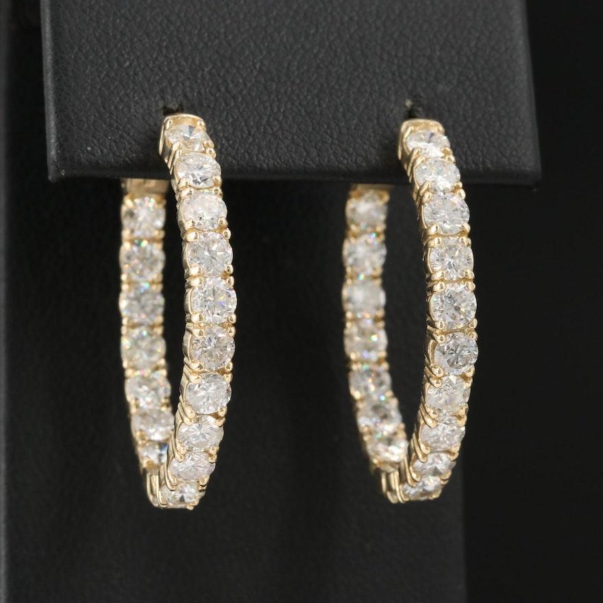 14K 5.52 CTW Diamond Oval Inside Out Hoop Earrings