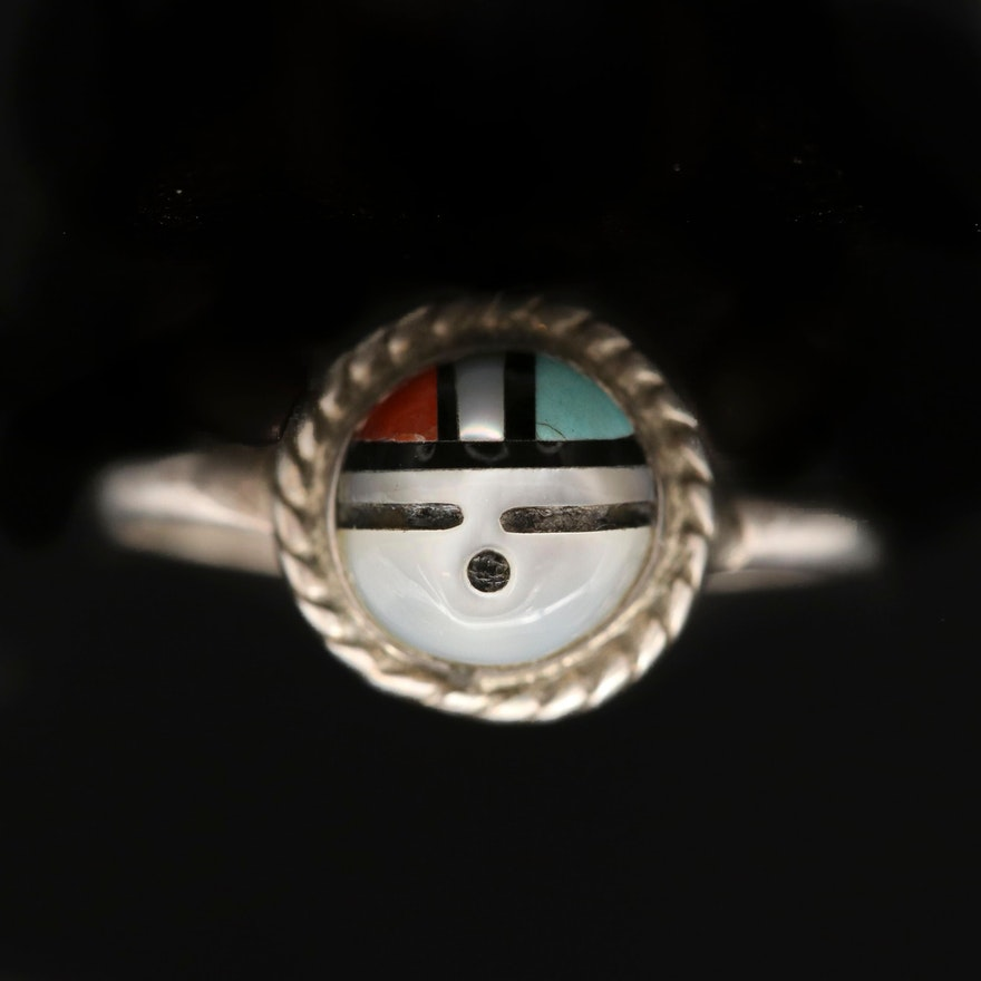 Western Style Sterling Silver Inlay Sunface Ring