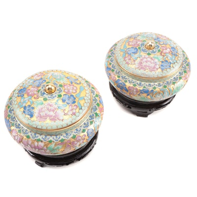 Chinese Cloisonné Lidded Jars with Wood Stands