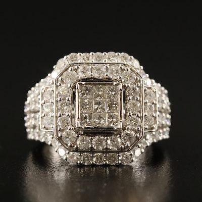 10K 3.00 CTW Diamond Geometric Ring