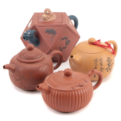 ChineseYixing Pottery Teapots, Late 20th Century