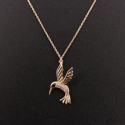 14K Pavé Diamond Hummingbird Necklace