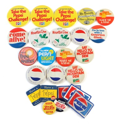 Pepsi and Mountain Dew Advertising Soda Pinbacks with Cloth Patches
