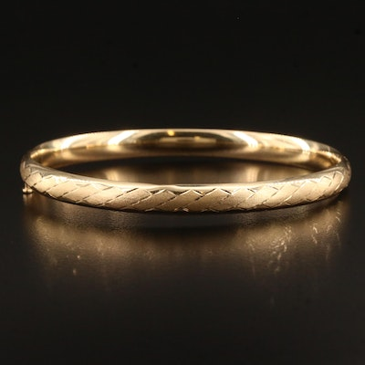 Michael Anthony 14K Hinged Bangle Featuring Etched Design