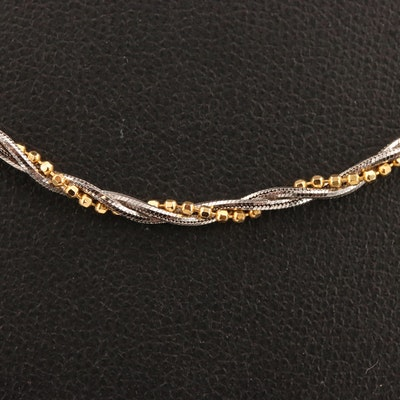 14K Bead and Snake Chain Bayadére Necklace
