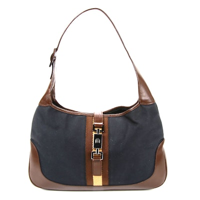 Gucci Jackie Bag in Navy Canvas and Brown Leather