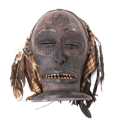 """Chokwe """"Chiongo"""" Hand-Carved Wood Mask, Early to Mid 20th Century"""