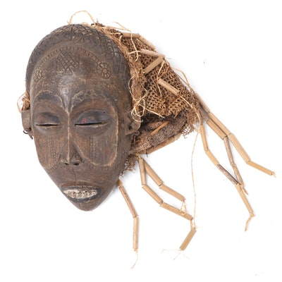 "Chokwe ""Pwo"" Hand-Carved Wood Mask, Central Africa"