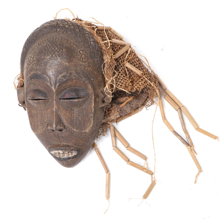 """Chokwe """"Pwo"""" Hand-Carved Wood Mask, Central Africa"""