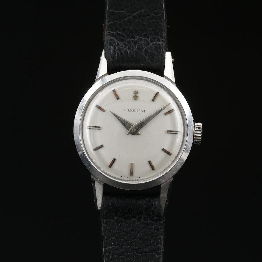 Swiss Corum Stainless Steel Stem Wind Wristwatch