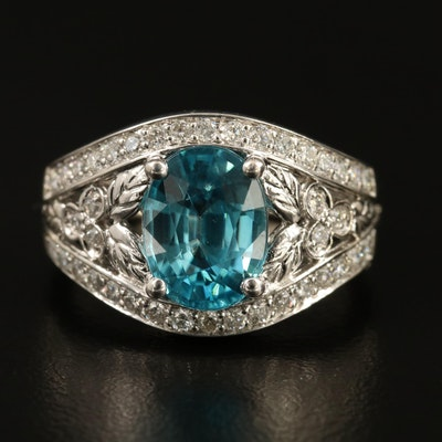 14K Zircon and Diamond Ring Featuring Foliate Shoulder Accents