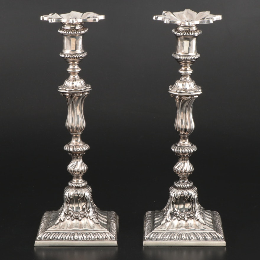 German Hanau Sterling Silver Candlesticks with Bobeches, Mid-19th Century