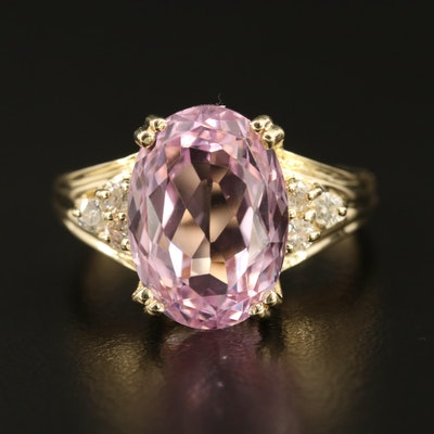 14K 7.17 CT Kunzite and Diamond Ring