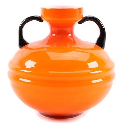 Murano Style Cased Art Glass Amphora Vase
