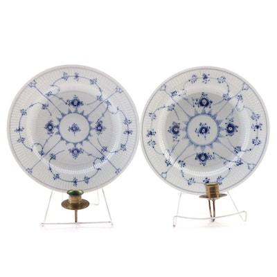 "Royal Copenhagen ""Blue Fluted"" Porcelain Plate Candle Sconces"