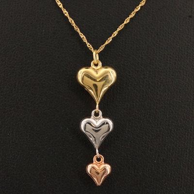 10K Tri-Color Gold Drop Heart Necklace
