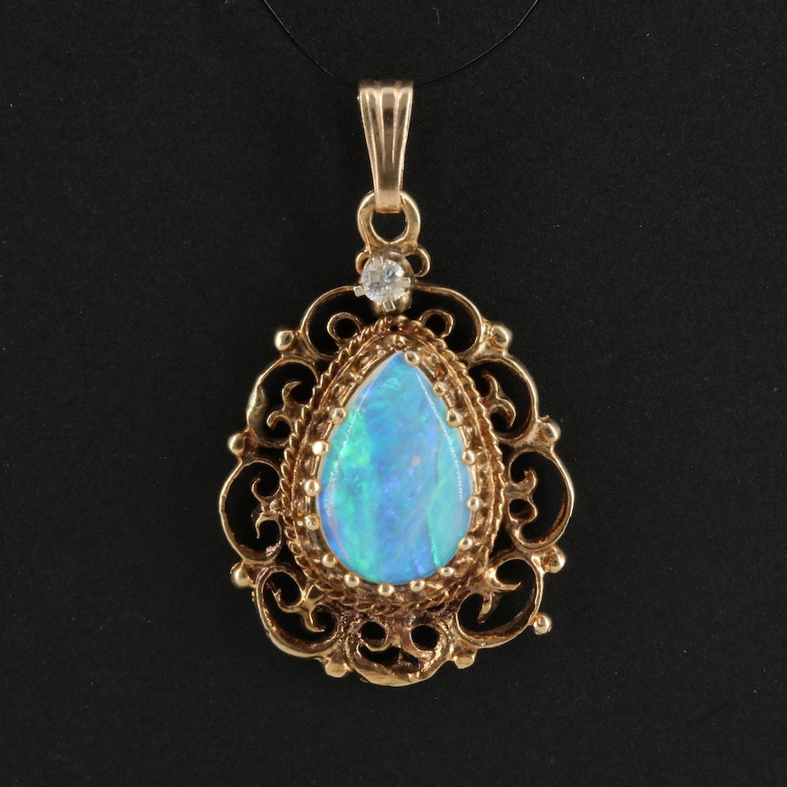 Vintage 14K Opal Pendant with Diamond Accent