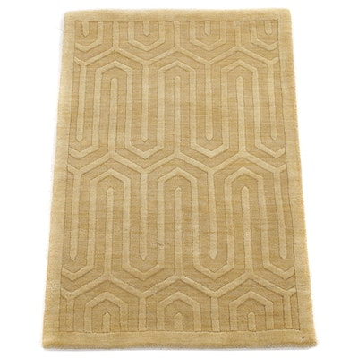 2' x 3' Hand-Knotted Indo Mid Century Modern Style Rug, 2000s