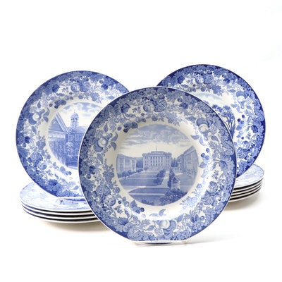 "Wedgwood ""Harvard University"" Blue Transferware Ironstone Dinner Plates"