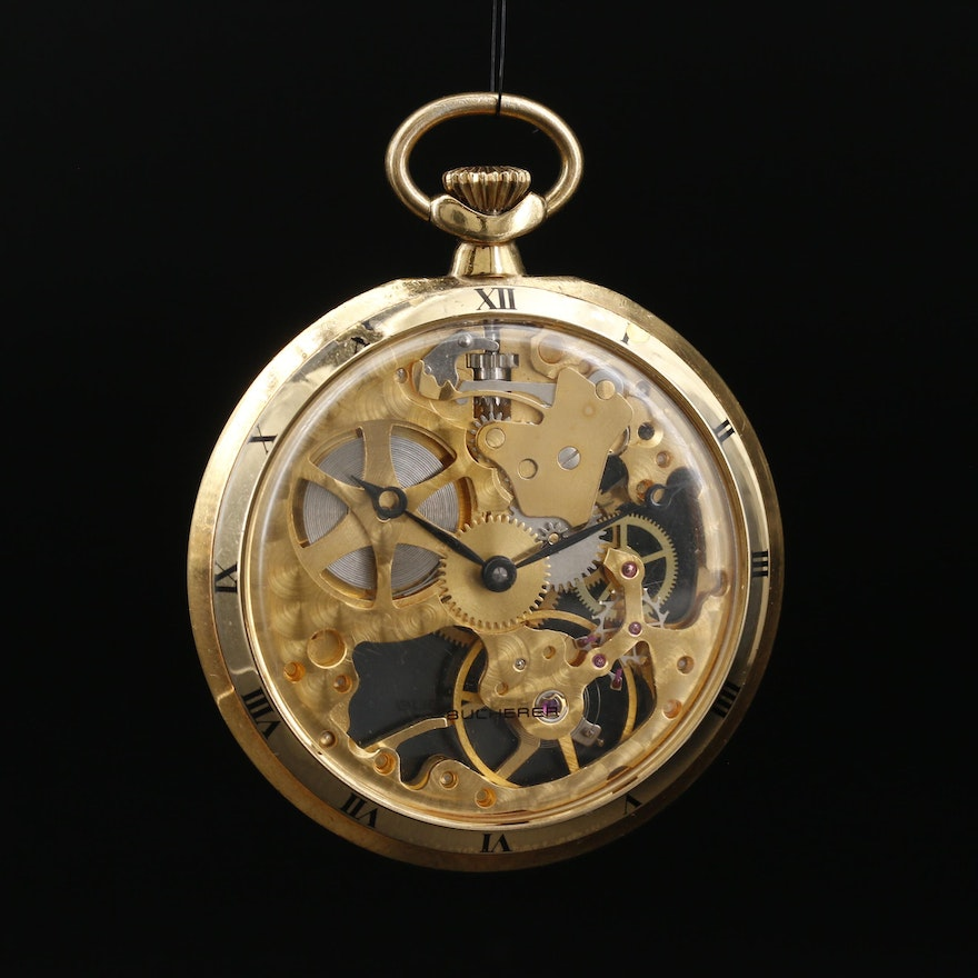 Vintage Bucherer Gold Tone Skeleton Pocket Watch
