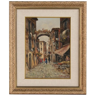 E. Bianchini Oil Painting of European Street Scene, Mid to Late 20th Century