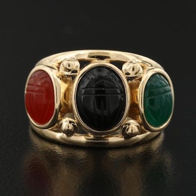 14K Black Onyx, Carnelian and Chalcedony Carved Scarab Ring