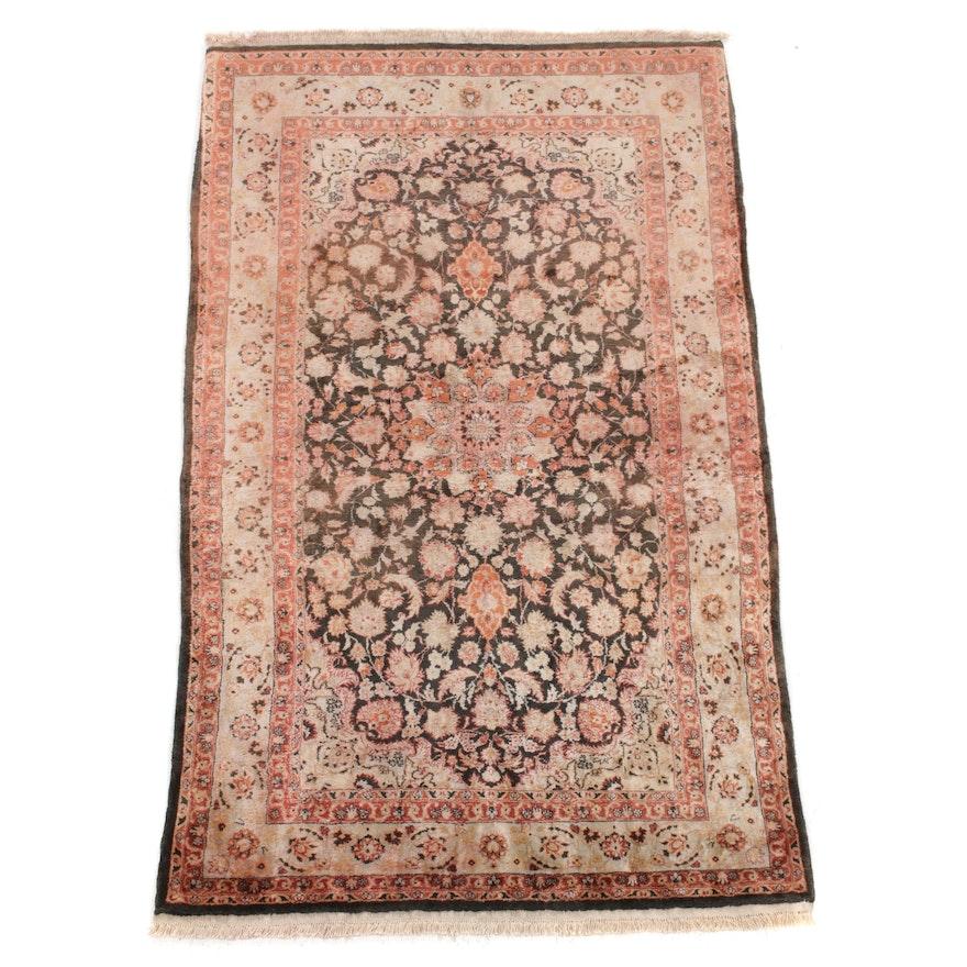 2'2 x 3' Hand-Knotted Sino Persian Tabriz Silk Rug, 2000s