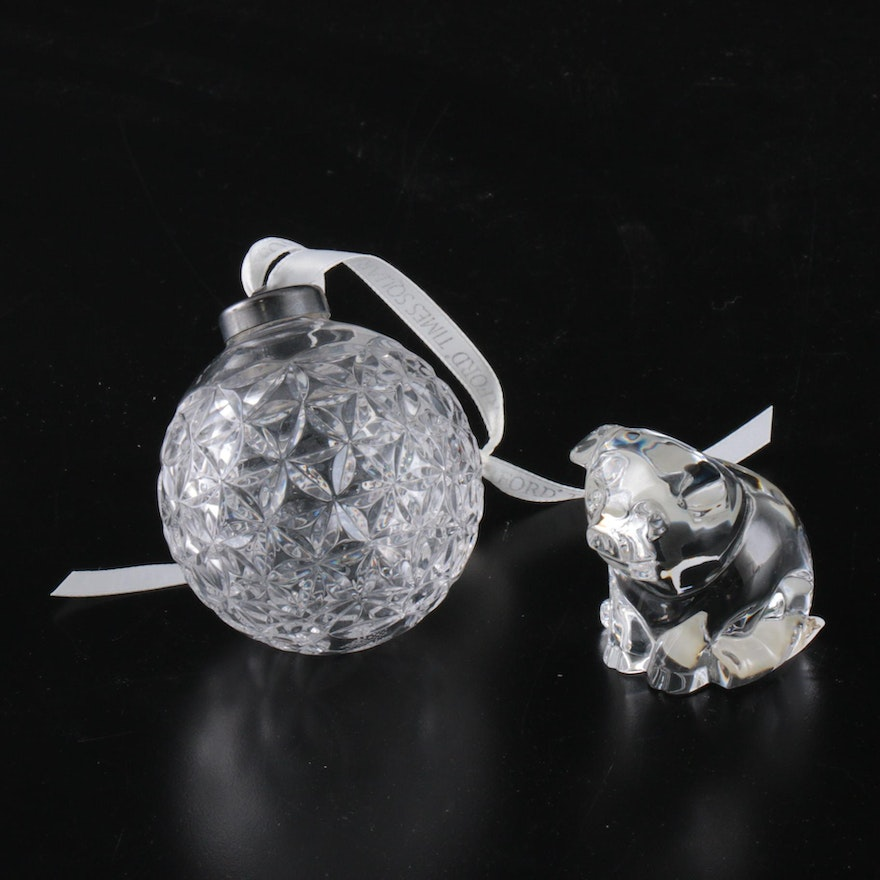 """Waterford Crystal Times Square """"Star of Hope"""" Ornament and """"Small Pig"""" Figurine"""