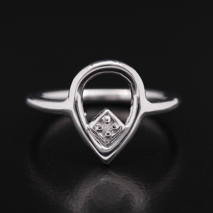 14K Diamond Teardrop Ring