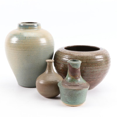 Signed Ceramic Glazed Pottery Vases and Vessels