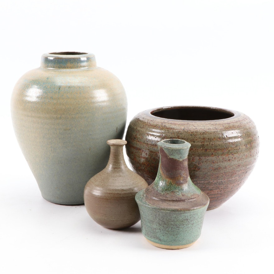 Signed Ceramic Glazed Pottery Vases and Vessels