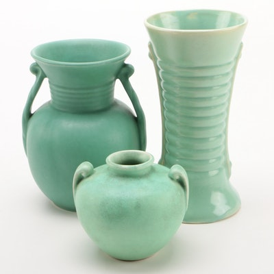 Celadon Ceramic Vases, Early to Mid 20th Century