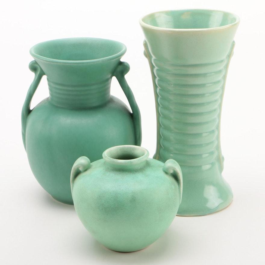 Celadon Ceramic Vases, Early to Mid 20th Century