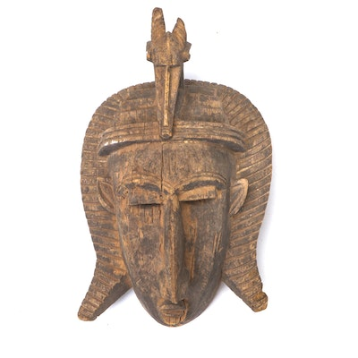 Bamana Style Hand-Carved Wood Mask with Animal Motif, Mali