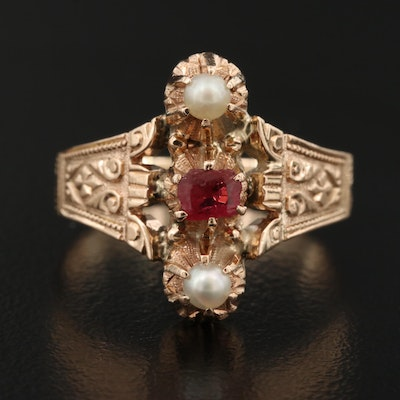 Victorian 14K Garnet Glass Doublet and Pearl Ring