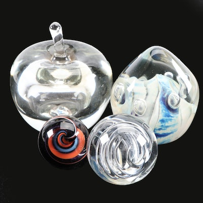 Signed Art Glass Paperweights Including Mark Matthews