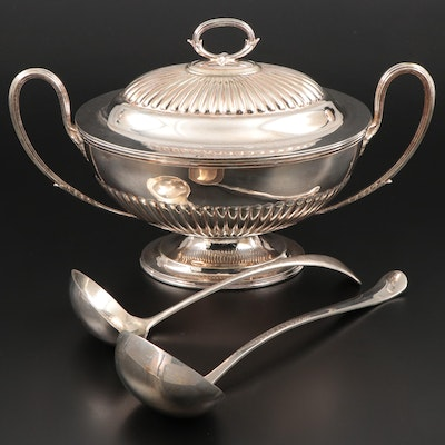 Atkin Brothers Silver Plate Tureen and Other Silver Plate Ladles