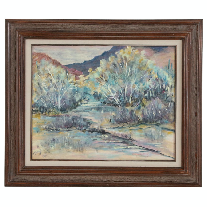 Mary Ann Mathews Western Landscape Acrylic Painting, 1992