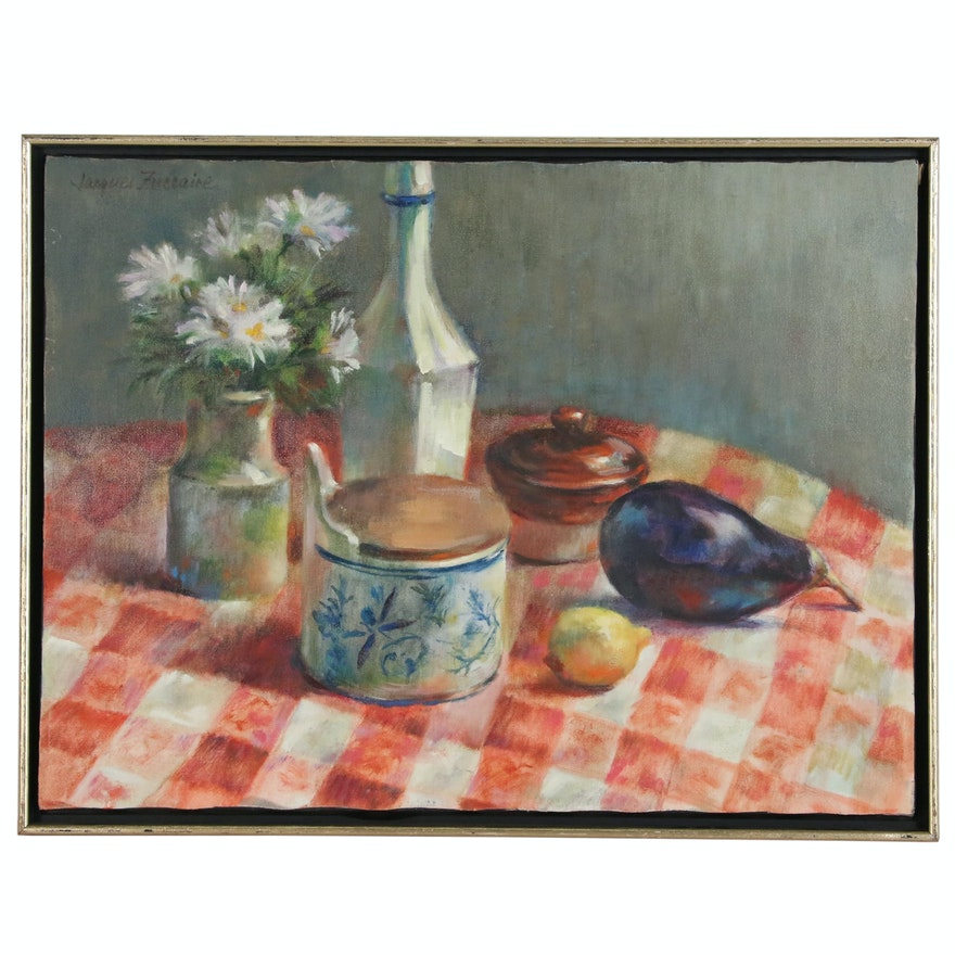Jacques Zuccaire Still Life Oil Painting, Late 20th Century