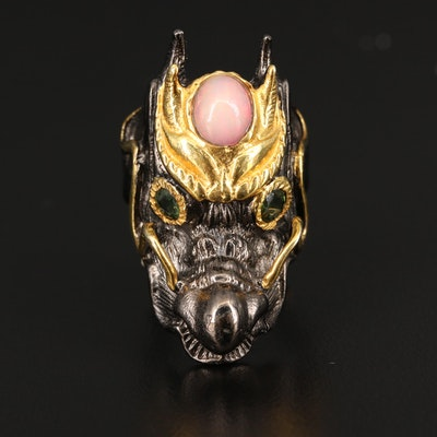 Sterling Dragon Head Ring with Opal and Tourmaline Accents