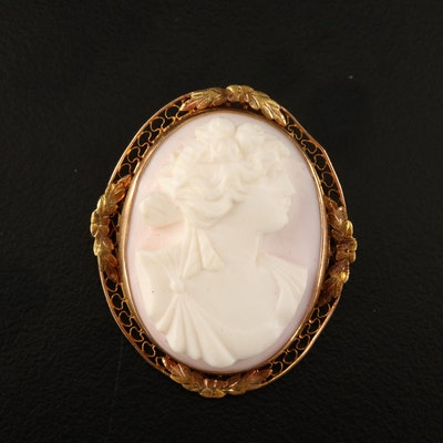 "1930s 10K ""High Relief"" Conch Shell Cameo Brooch"